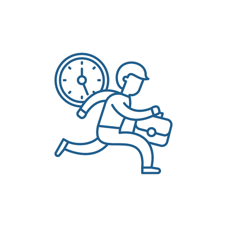 Time management line concept icon. Time management flat  vector website sign, outline symbol, illustration. Illustration