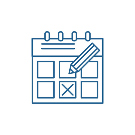 Time planning line concept icon. Time planning flat  vector website sign, outline symbol, illustration.
