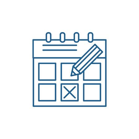 Time planning line concept icon. Time planning flat  vector website sign, outline symbol, illustration.