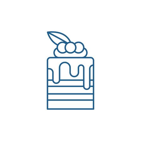 Tiramisu line concept icon. Tiramisu flat  vector website sign, outline symbol, illustration.