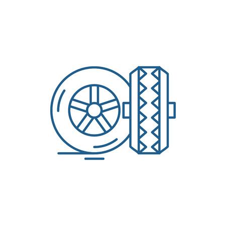 Tires line concept icon. Tires flat vector website sign, outline symbol, illustration.