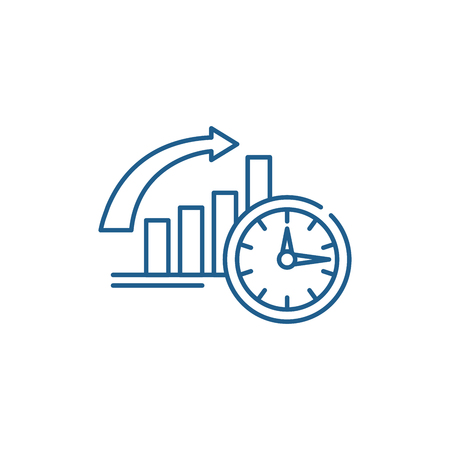 To be on time line concept icon. To be on time flat  vector website sign, outline symbol, illustration. Illustration