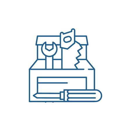 Tool builder line concept icon. Tool builder flat  vector website sign, outline symbol, illustration.
