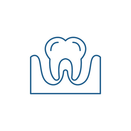 Tooth line concept icon. Tooth flat  vector website sign, outline symbol, illustration. 스톡 콘텐츠 - 120117693