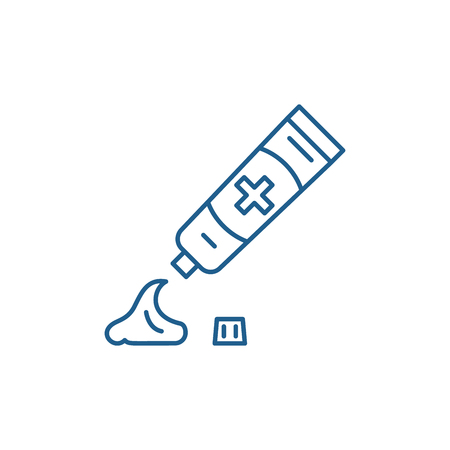 Toothpaste line concept icon. Toothpaste flat  vector website sign, outline symbol, illustration.