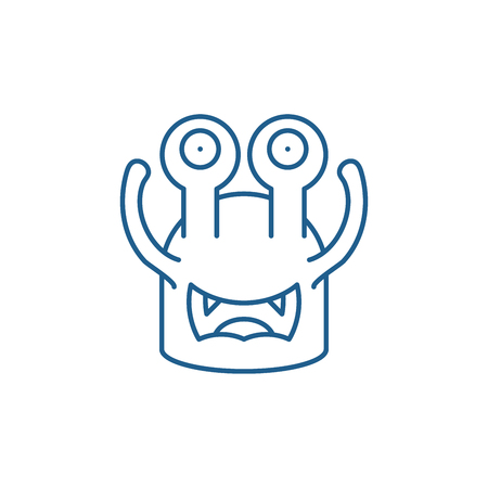 Toothy cast line concept icon. Toothy cast flat  vector website sign, outline symbol, illustration. 向量圖像