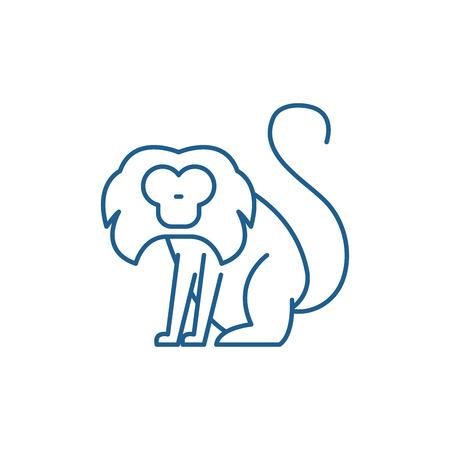 Toque line concept icon. Toque flat  vector website sign, outline symbol, illustration. Illustration