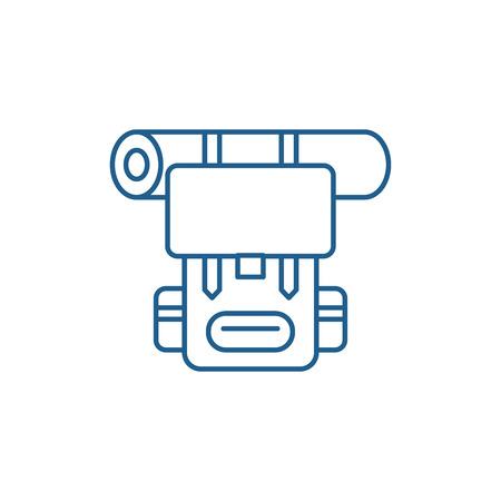 Tourist backpack line concept icon. Tourist backpack flat  vector website sign, outline symbol, illustration. Standard-Bild - 120117701