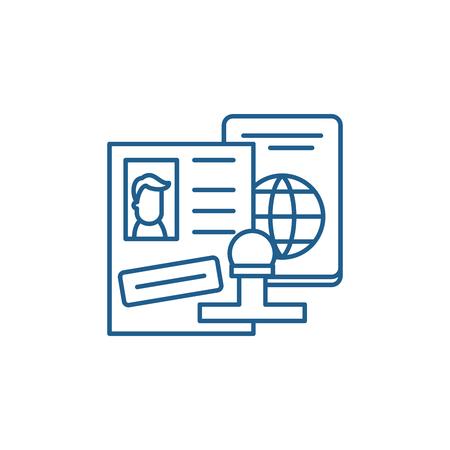 Icono de concepto de línea de visa de turista. Visa de turista sitio web vector plano signo, símbolo de contorno, Ilustración. Ilustración de vector