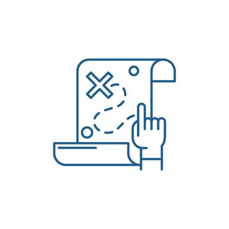 Icona del concetto di linea mappa del tesoro. Mappa del tesoro piatto vettore sito web segno, simbolo di contorno, illustrazione.
