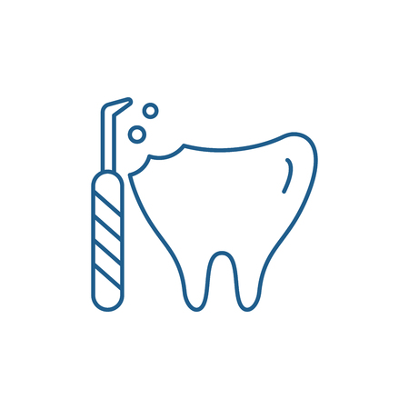 Treatment of caries line concept icon. Treatment of caries flat  vector website sign, outline symbol, illustration. Imagens - 120117704