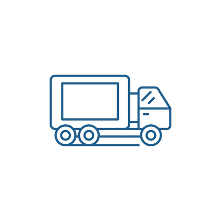 Truck line concept icon. Truck flat  vector website sign, outline symbol, illustration. Иллюстрация