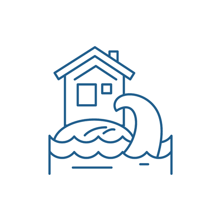 Tsunami line concept icon. Tsunami flat  vector website sign, outline symbol, illustration. Illusztráció