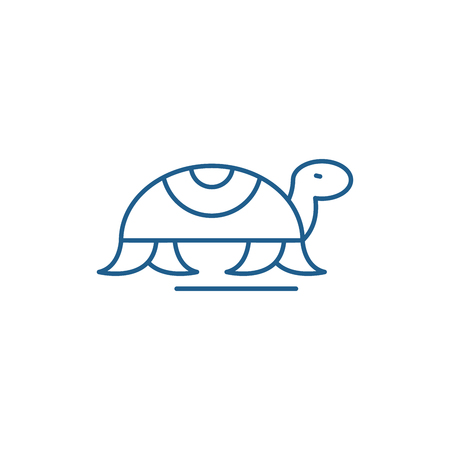 Turtle in motion line concept icon. Turtle in motion flat  vector website sign, outline symbol, illustration.