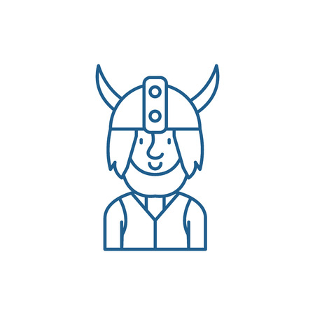 Viking line concept icon. Viking flat  vector website sign, outline symbol, illustration. 向量圖像