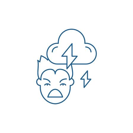 Violence line concept icon. Violence flat  vector website sign, outline symbol, illustration. Illustration