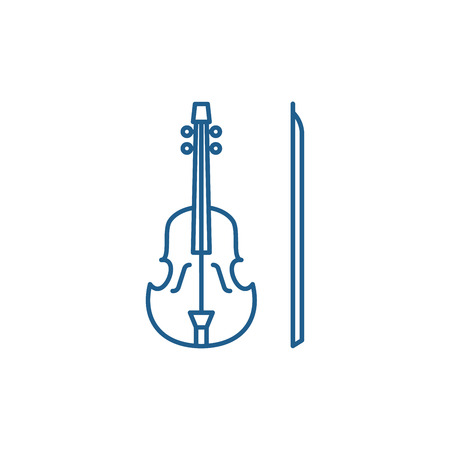 Violin line concept icon. Violin flat  vector website sign, outline symbol, illustration.