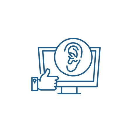 Viral marketing line concept icon. Viral marketing flat  vector website sign, outline symbol, illustration. Stock Illustratie