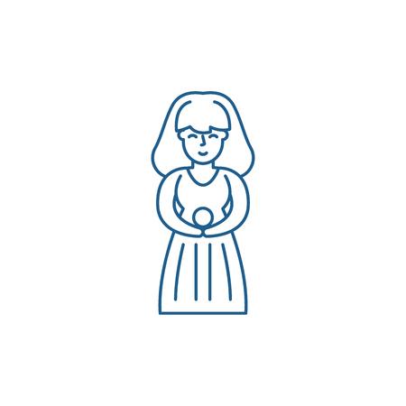 Virgo zodiac sign line concept icon. Virgo zodiac sign flat  vector website sign, outline symbol, illustration.