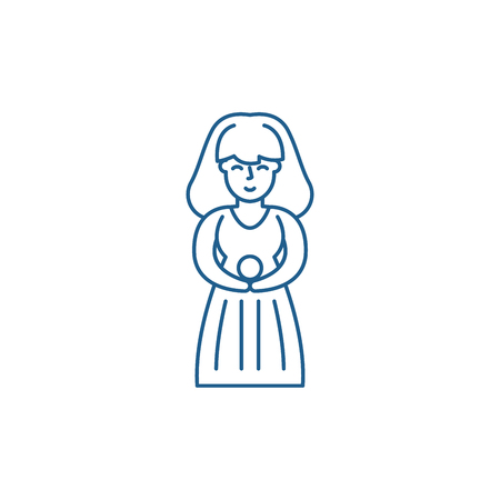 Virgo zodiac sign line concept icon. Virgo zodiac sign flat vector website sign, outline symbol, illustration.