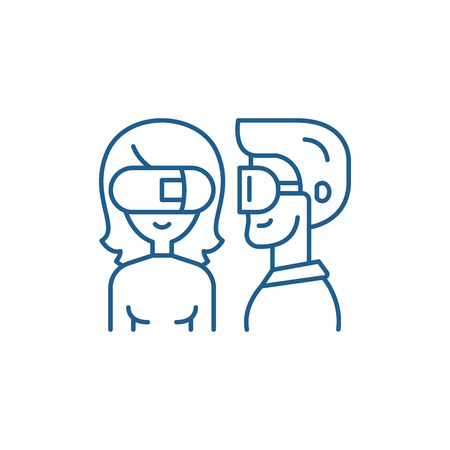 Virtual glasses line concept icon. Virtual glasses flat  vector website sign, outline symbol, illustration.