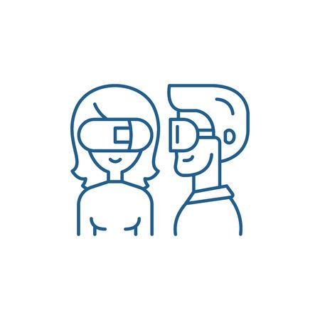 Symbol für das Konzept der virtuellen Brille. Flaches Vektor-Website-Zeichen der virtuellen Brille, Umrisssymbol, Illustration