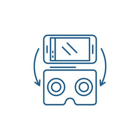 Virtual glasses for gadgets line concept icon. Virtual glasses for gadgets flat  vector website sign, outline symbol, illustration.