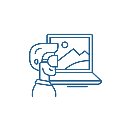Virtual reality line concept icon. Virtual reality flat  vector website sign, outline symbol, illustration. Illustration