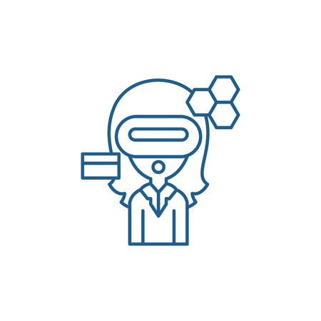 Virtual reality business line concept icon. Virtual reality business flat  vector website sign, outline symbol, illustration.