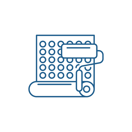 Wallpapering line concept icon. Wallpapering flat  vector website sign, outline symbol, illustration. Illustration