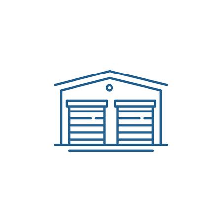 Warehouses line concept icon. Warehouses flat  vector website sign, outline symbol, illustration. Standard-Bild - 120117738
