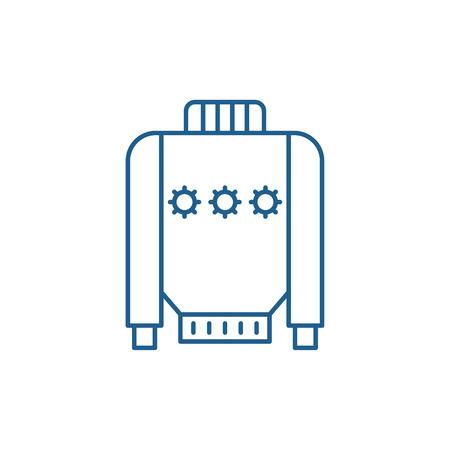 Warm sweater line concept icon. Warm sweater flat  vector website sign, outline symbol, illustration. Illustration