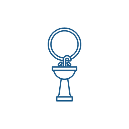 Washbasin line concept icon. Washbasin flat  vector website sign, outline symbol, illustration.