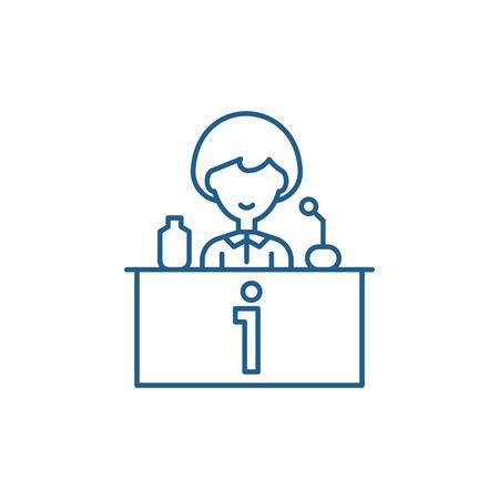 Tv celebrity line concept icon. Tv celebrity flat  vector website sign, outline symbol, illustration.