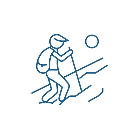 Tourist walk line concept icon. Tourist walk flat  vector website sign, outline symbol, illustration.