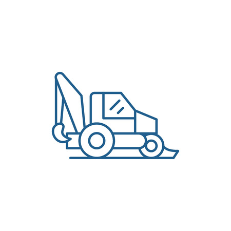 Tractor line concept icon. Tractor flat  vector website sign, outline symbol, illustration. Foto de archivo - 120117782