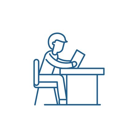 Training at work line concept icon. Training at work flat  vector website sign, outline symbol, illustration.