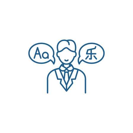 Translator line concept icon. Translator flat  vector website sign, outline symbol, illustration. 版權商用圖片 - 120117794