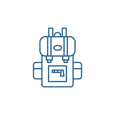 Travel backpack line concept icon. Travel backpack flat  vector website sign, outline symbol, illustration. Illustration