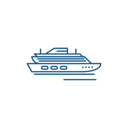 Travel cruise ship line concept icon. Travel cruise ship flat  vector website sign, outline symbol, illustration.