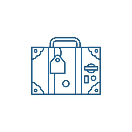 Travel suitcase line concept icon. Travel suitcase flat  vector website sign, outline symbol, illustration. 일러스트