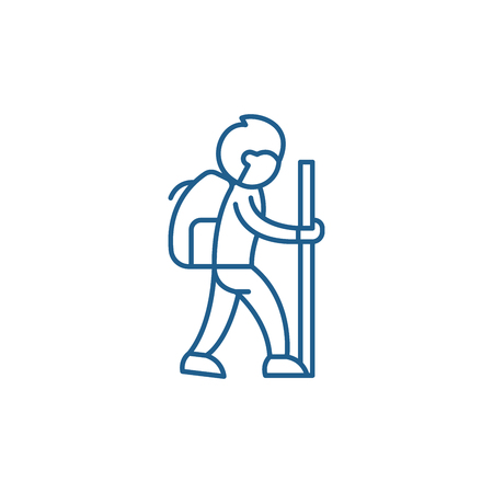 Traveler line concept icon. Traveler flat  vector website sign, outline symbol, illustration.