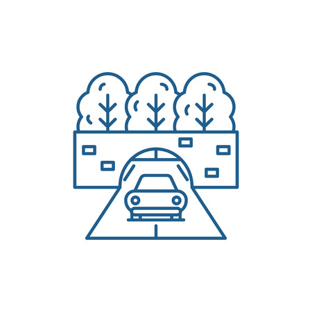 Travelling by car line concept icon. Travelling by car flat  vector website sign, outline symbol, illustration.