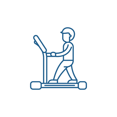 Treadmill line concept icon. Treadmill flat  vector website sign, outline symbol, illustration.