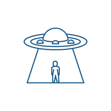 Ufo line concept icon. Ufo flat  vector website sign, outline symbol, illustration.