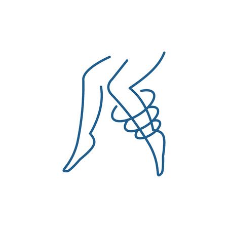Icona del concetto di linea di vene varicose. Le vene varicose vettore piatto sito web segno, simbolo di contorno, illustrazione.