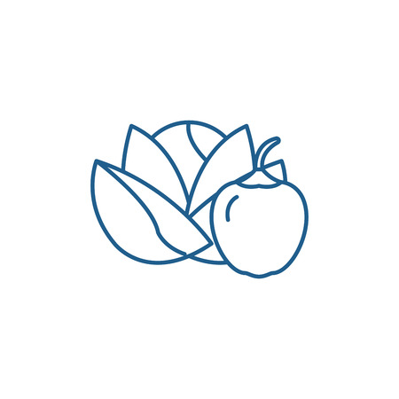 Vegetables and fruits line concept icon. Vegetables and fruits flat  vector website sign, outline symbol, illustration.