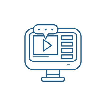 Video lessons line concept icon. Video lessons flat  vector website sign, outline symbol, illustration. Çizim