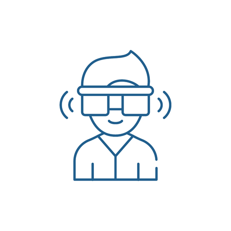 Virtual reality glasses line concept icon. Virtual reality glasses flat  vector website sign, outline symbol, illustration.