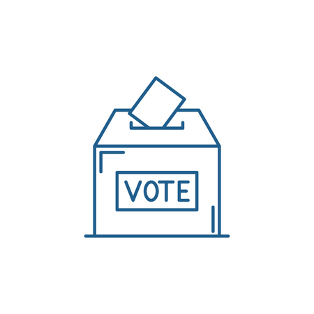 Vote line concept icon. Vote flat  vector website sign, outline symbol, illustration.